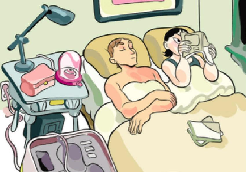 couple in bed cartoon