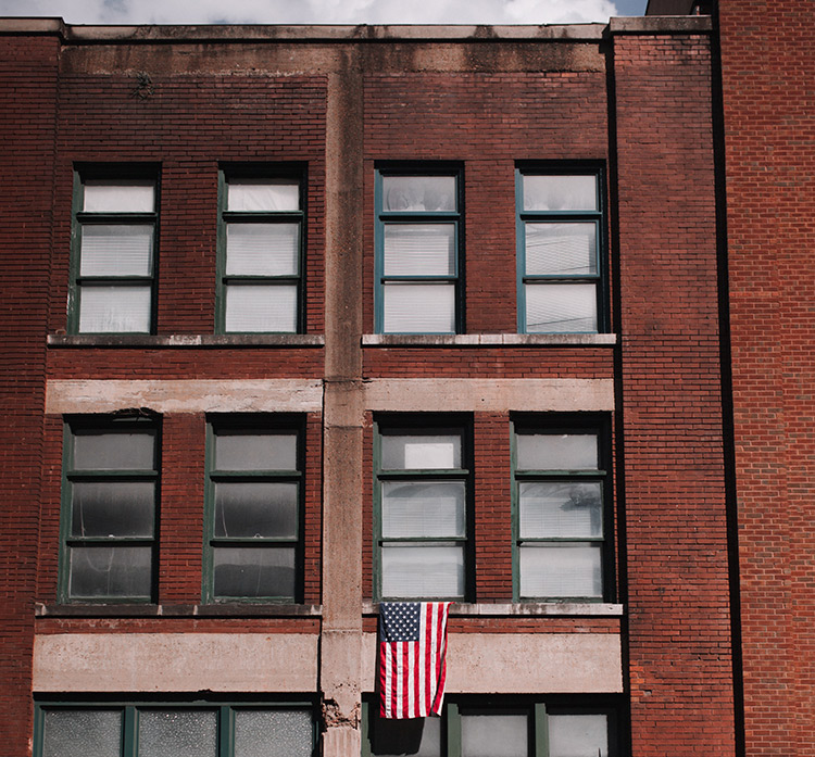 us flag on building